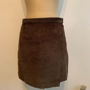 Abercrombie & Fitch Olive Corduroy Wrap Skirt
